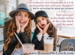Recruiting for Good sponsors the sweetest gig for girls to taste and review the best local dining #momandmelunch #sweetfoodiegig #recruitingforgood www.MomandMeLunch.com
