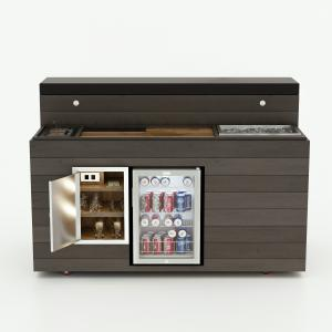 The Cabinet Tronix Outdoor Mobile TV Lift Cabinet Bar & Fridge Stunner is the first ever of its kind created to roll out to outdoor spaces for entertaining on the spot. The bar is made of beautifully imported wood and includes a side refrigerator, ice buc