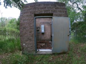 Raw water line's pump house at the edge of the Caney Fork River.