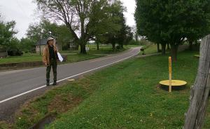Electro Scan's Paul Pasko conducts a reconnaissance of water main access and insertion points at the City of Spencer, Tenn.