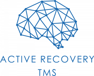 Active Recovery TMS Logo, blue drawn graphic, shape of brain