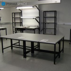 technical workbench laminate top storage drawer LED lighting keyboard tray
