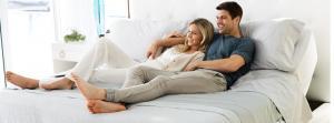 Woman and man on mattress