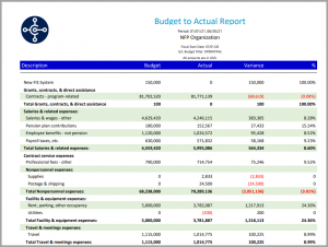 Image of a Budget to Actual financial report in color and expanded formatting from Tangicloud Fundamentals.