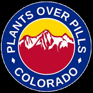 The Plants Over Pills Colorado (POP Colorado) corporate logo.