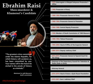 """June 16, 2021 - Ebrahim Raisi, a member of the 1988 Massacre's """"Death Commission"""" assigned as the highest judicial position within the regime."""