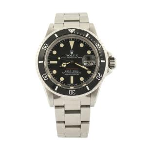 Rolex Reference 1680 red Submariner Date men's watch from 1972 with stainless steel case and band (CA$24,780).