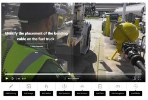 Screen capture of interactive video question on placement of the bonding cable on a fuel truck.