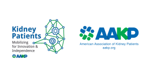 The American Association of Kidney Patients Logo; AAKP Patient Meeting Logo - Kidney Patients: Mobilizing for Innovation & Independence