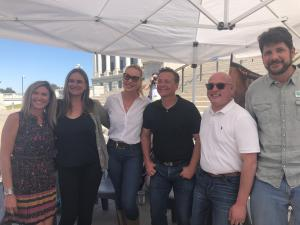 Speakers at the event included (left to right): Jen Rogers, Red Birds Trust; Ashley Avis, director of Disney's Black Beauty film; Katherine Heigl, Scott Beckstead with the Center for a Humane Economy; Marty Irby with Animal Wellness Action; and Eric Molva