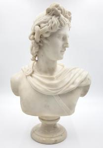 One of the most striking lots in the sale is an unsigned sculpted marble bust of Antonius, set on a small marble plinth.  Estimate: $ 1,500 to $ 2,500.
