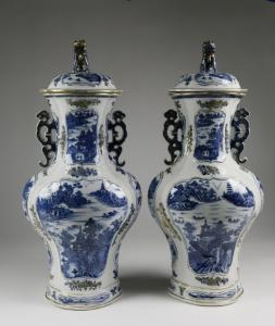 Chinese Export pair of underglaze blue baluster vases with covers, circa 18th century, 21 inches tall. Estimate: $25,000-$35,000.