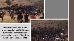 """July 24, 2021 - Izeh – Funeral of one of the protesters shot by IRGC thugs, turned into a demonstration with """"Death to Khamenri"""" – July 23, 2021."""