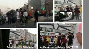 July 24, 2021 - Robat Karim - A large crowd gathered to express support for the Khuzestan uprising – July 23, 2021.