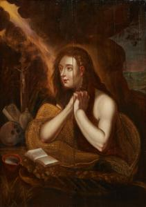 19th century oil painting on panel after Domenico Tintoretto (1560-1635), titled The Penitent Magdalene, 24 ½ inches high by 18 ½ inches wide (estimate: $ 1,000 to $ 2,000).