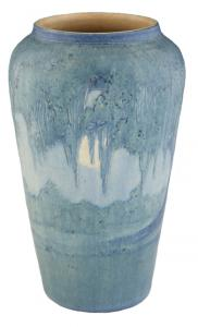 Newcomb College Art Pottery Moon and Moss Baluster Vase, made in 1921 by Anna Frances Simpson, 10 inches tall (estimate: $ 4,500 to $ 6,500).