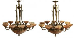Pair of late 19th century 12-light French bronze and alabaster chandeliers, 42 inches high (estimate: $ 800- $ 1200).