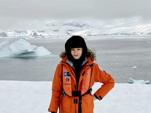 Portrait of Paola Marzotto on site - Antarctica January 2020