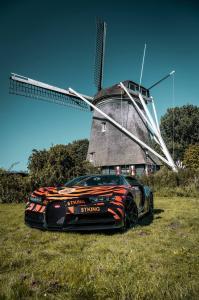 Bugatti Chiron gehuld in tijgerstrepen, versierd met Tiger King Coin en Joe Exotic badges, geparkeerd voor een windmolen in Nederland
