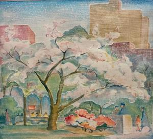 Color woodcut with embossing on paper by Katharine Hood McCormick (American, 1882-1960), titled Rittenhouse Square, Spring, signed (estimate: $1,000-$2,000).