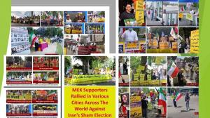 (PMOI / MEK Iran) and (NCRI): MEK Supporters Rallied in Various Cities across the World Against Iran's Sham Election. The Iranians seeking a democratic, secular, and non-nuclear Republic.