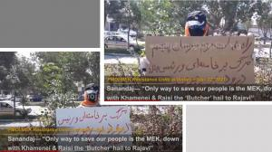 """September 25, 2021 - Sanandaj: """"Only way to save our people is the MEK, down with Khamenei & Raisi the 'Butcher' hail to Rajavi""""."""