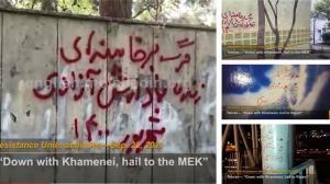 "September 25, 2021 - Tehran: ""Down with Khamenei, hail to the MEK"". Tehran: ""Down with Khamenei, hail to Rajavi""."