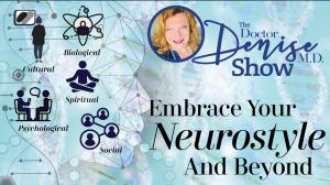 The image shows Dr. Denise surrounded by graphics depicting the cultural, psychological and social ways we process the worldical, biological, spirtual and