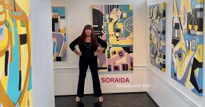 Soraida Martinez, Artist, in Verdadism Art Gallery with Paintings for Upcoming Exhibition at the Riverfront Renaissance Center for the Arts.