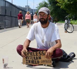 Homeless veteran on the street