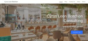 Website of Business Consultant Cyrus Batchan, California