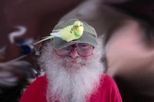 Bill pictured with his pet bird, fruppie banana