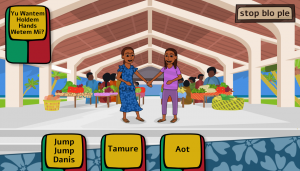 A colorful outdoor market is in the background with two video game characters holding hands in the foreground. Several cards with Bislama text are available to choose the next action.