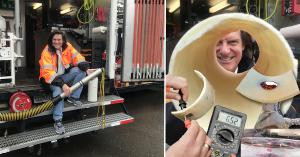 (Left) Chairman & CEO, Chuck Hansen sits on the back of one of his reengineered CCTV vans used for electro scanning. (Right) Example tests of an exhumed lined pipe with leaks measured by Electro Scan, not easily seen by CCTV cameras.
