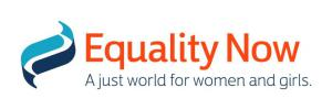 """Equality Now logo - Equality Now written in red font, underneith in dark blue smaller writing it says """"A just world for women and girls"""""""