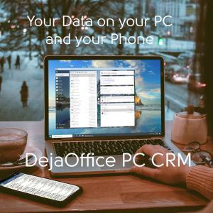 DejaOffice PC CRM on a laptop in a cafe
