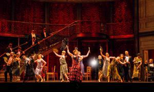 Performers gather in the Parisian dance hall in Verdi's La Traviata at Vancouver Opera