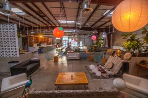 Wide angle view of eclectic AWA Oasia, a Modern Oasis in the heart of LA.; the venue will co-host the Peace Song Awards and International Peace Day Celebration in #DTLA.