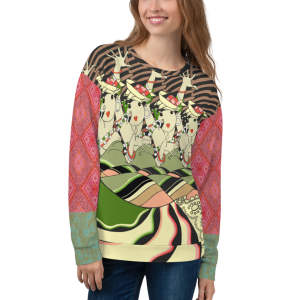 Woman modeling the CanCan Girls all-over-print sweatshirt