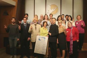vReligious leaders unite in support of tolerance and peace.
