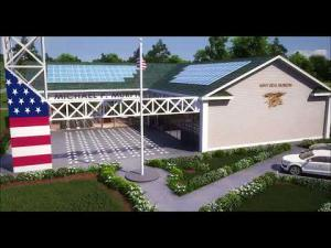 Exterior rendering of the LT Michael P. Murphy Navy SEAL Museum and Sea Cadet Training Facility